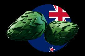 New Zealand flag logo with hops