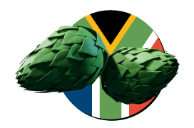 South African flag logo with hops
