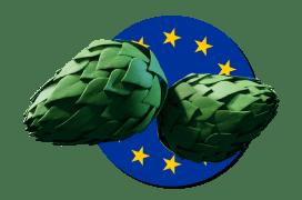 European flag logo with hops